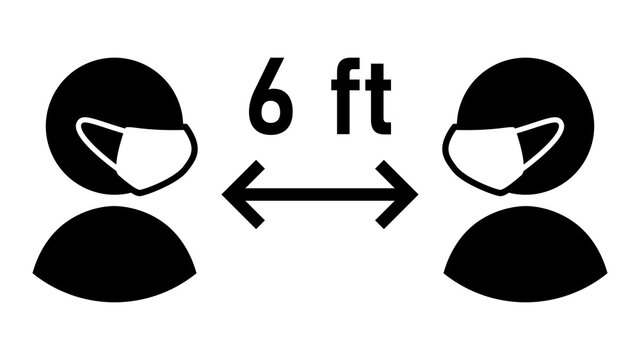 Social Distancing Keep Your Distance 6 ft or 6 Feet Sign with People wearing Face Masks and Distance Arrow. Vector Image.