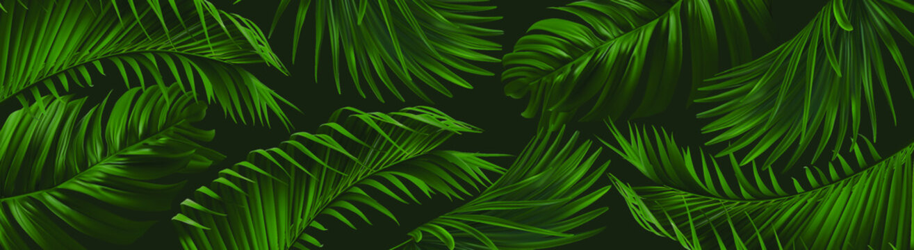Vector horizontal banner with green, natural leaves on dark green background. Best as a web banner