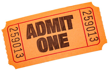 Carnival draw winner, admit one tickets and movie theater admission concept with close up on orange...