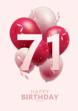 Happy 71st birthday with realistic red and rosegold balloons on light rose background. Set for Birthday, Anniversary, Celebration Party. Vector stock.