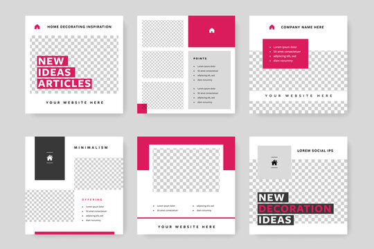 Clean and elegant social media templates pack with magenta background elements. Instagram posts for business with place for photos