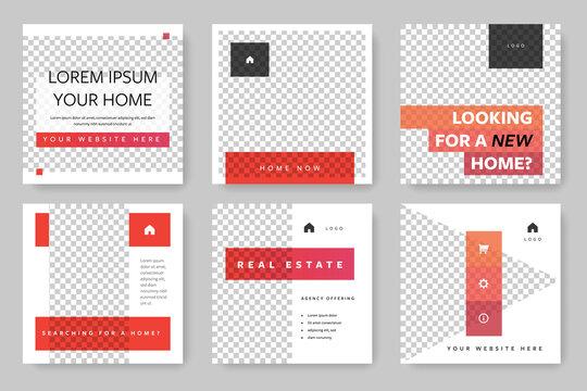 Square web banner for social media post. Instagram template with orange design elements. Business layout for e-shop or seller