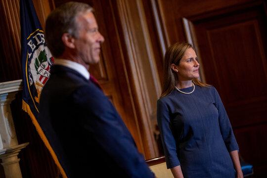 Judge Amy Coney Barrett meets with Senate Majority Whip John Thune, in Washington