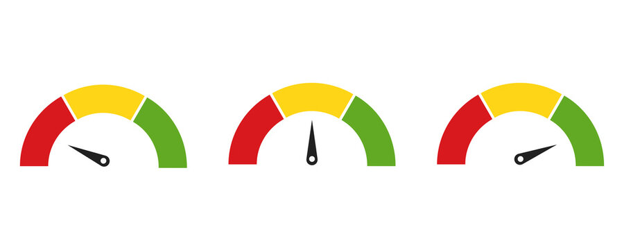 Color speedometer icon. Set of colorful speedo. Vector illustration on white background . Flat colection of  tachometers.