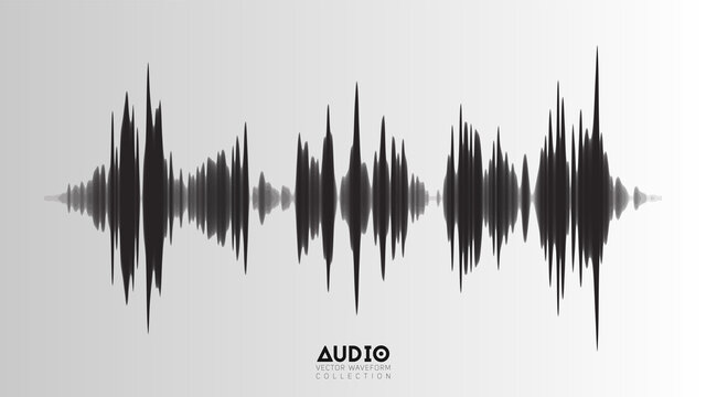 Vector echo audio wavefrom. Abstract music waves oscillation. Futuristic sound wave visualization. Synthetic music technology sample. Tune print with bars.