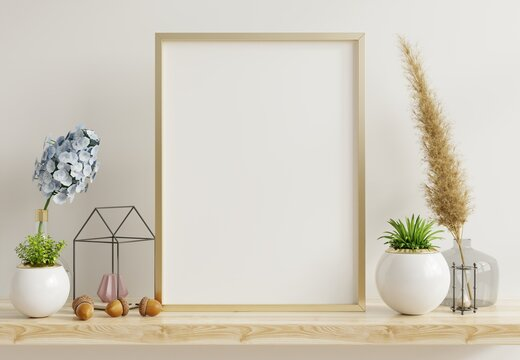 Home interior poster mock up with vertical metal frame with ornamental plants in pots on empty wall background.