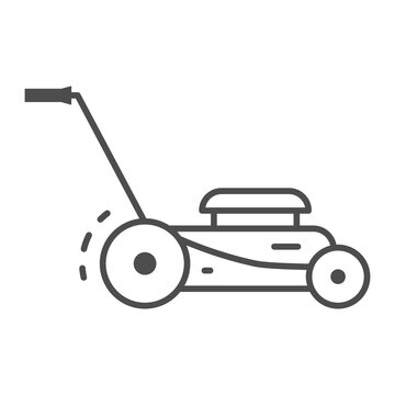 Lawn mower thin line icon, Garden and gardening concept, lawnmower sign on white background, lawn mower icon in outline style for mobile concept and web design. Vector graphics.