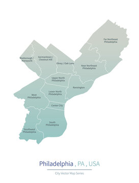 Philadelphia Map of pennsylvania. a major city in the United States.