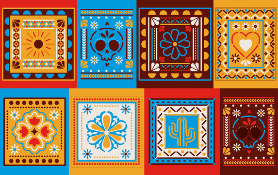 Mexican colored frames set vector design