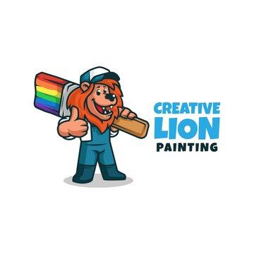 A painter decorator handyman cartoon character lion holding a paintbrush. lion painter mascot logo making thumbs up. vector illustration.