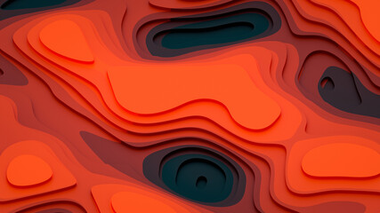 Stepped structure of red shades - abstract stepped landscape 3D Illustration