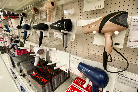 Hairdryers are pictured at a Target store during the outbreak of the coronavirus disease (COVID-19), in Pasadena