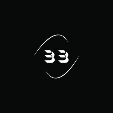 B B letter logo monogram design on black color background