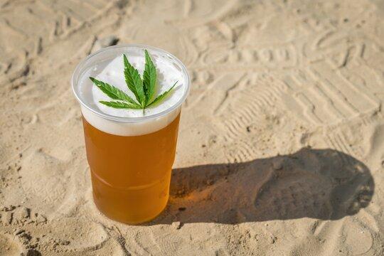 Cannabis beer with herbal leaf of marijuana