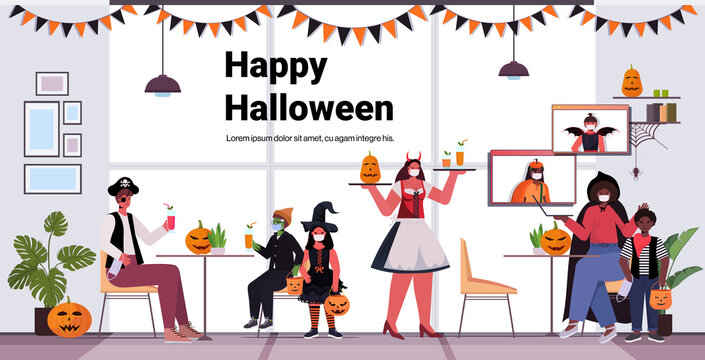 happy halloween holiday celebration concept waitress in costume serving cocktails to clients in masks coronavirus quarantine modern cafe interior horizontal full length vector illustration