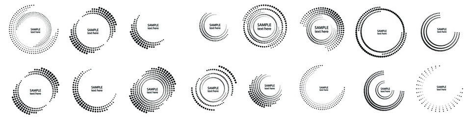 Halftone dots in circle form. round logo . vector dotted frame . Half tones design element