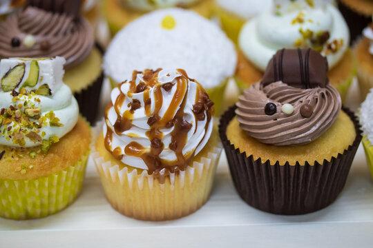 cupcake au chocolat, noix de coco, pistache et autres parfums