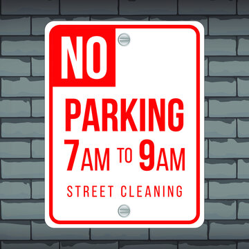 Vector of traffic road sign. No Parking from 7AM to 9AM. Eps 10 vector illustration.