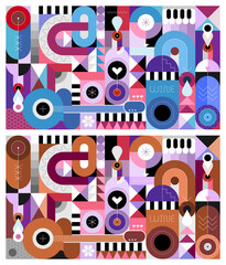 Two options of Abstract art composition of wine bottles and music instruments. Geometric style vector illustration. Can be used as seamless background.