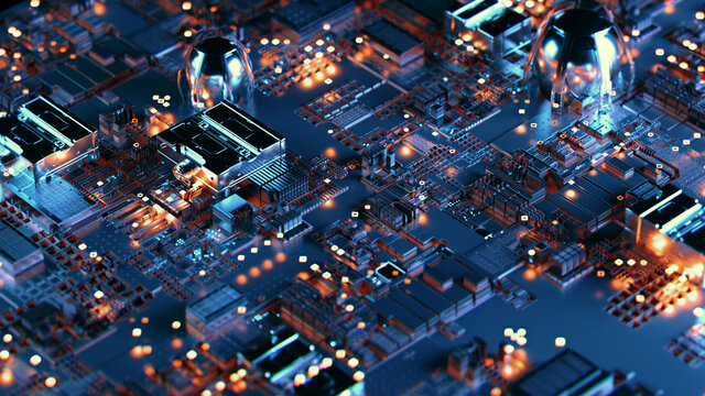 Futuristic printed circuit board with electronic chip components wallpaper. Technology abstract background 3D illustration