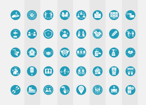 new normal lifestyle after coronavirus disease covid 19, blue silhouette icons set