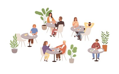 Wall Murals Height scale People sitting at tables in cafe or restaurant vector flat illustration. Man, woman and couple talking, eating, drinking and working at cafeteria isolated. Person spending time at public place