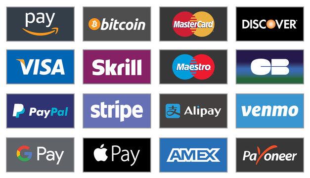 Logos services de paiement en ligne