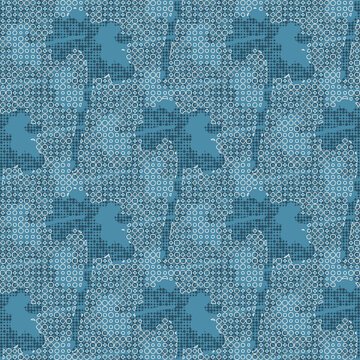 Beautiful abstract floral vector wallpaper pattern. Blue geometric flower silhouettes with white circular netting. Romantic background suitable for prints, interior decoration and textiles.