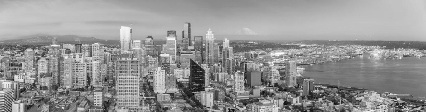 Seattle city downtown skyline cityscape in Washington State,  USA