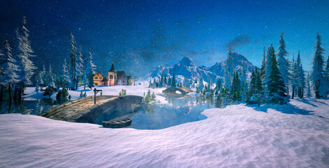 3D illustration of snow white countryside and small village at dusk.