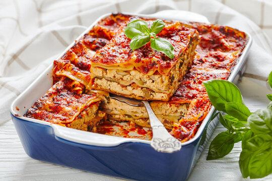 Healthy meatless lasagna on a baking dish