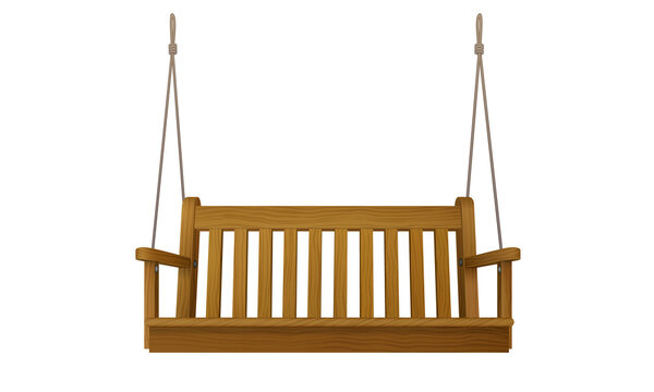 wooden classic outdoor hanging patio porch swing bench furniture with ropes isolated on white background. 3d realistic vector illustration