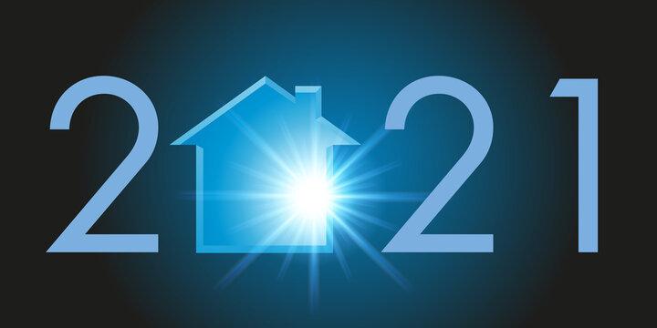 Carte de voeux montrant la silhouette d'une maison pour symboliser un projet de programme immobilier et l'acquisition d'un logement pour l'année 2021.