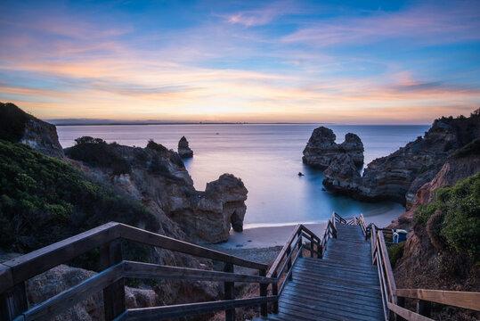 Camilo's beach (Praia do Camilo) during sunrise, Lagos, Algarve, Portugal