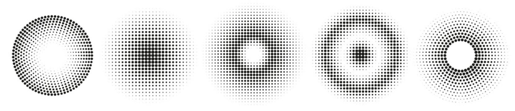 Set of simple halftones. Black gradient circles of dots. Dotwork. Vector illustration