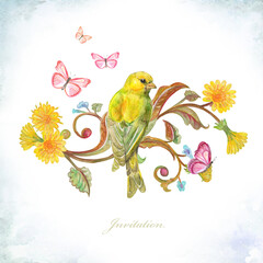 invitation card with yellow pretty bird sitting on fancy blossom twig looking away surrounded flying butterflies. watercolor painting