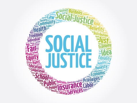 Social Justice word cloud, law concept background