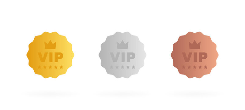Set VIP badges in gold, silver and bronze color. Round label with three vip level. Modern vector illustration