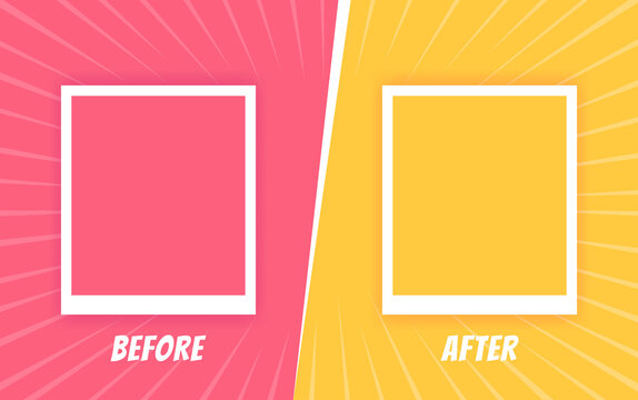 Before and after background template. Two color retro background with halftone corners and frames for comparison. Vector illustration