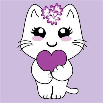 niedliches Kawaii Kätzchen das ein Herzchen festhält. Vektordatei