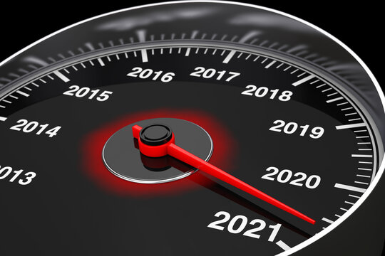 Conceptual 2021 New Year Speedometer. 3d Rendering