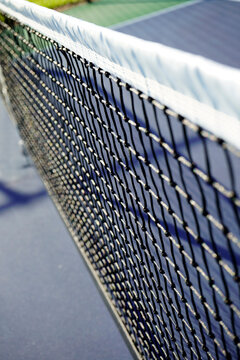 close up of pickle ball court and net