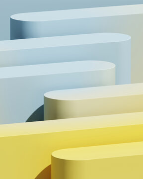 Minimal abstract mockup background for product presentation. Blue and yellow blending gradient podium. 3d render illustration.