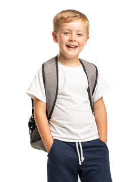 Happy smiling boy standing with backpack on white background