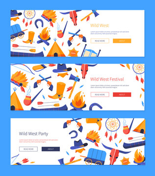 Wild west - set of flat design style web banners