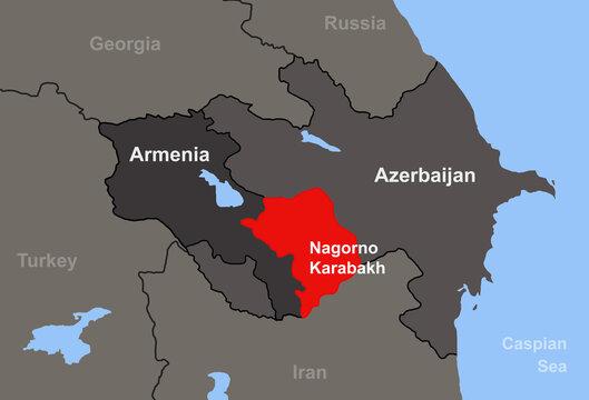 Armenia-Azerbaijan conflict in Nagorno-Karabakh on outline map