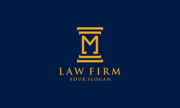 initial M law firm logo symbol template