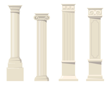 Vintage classic carved architectural pillars flat set for web design. Cartoon roman, renaissance or baroque columns for interior isolated vector collection. Building design and decoration concept
