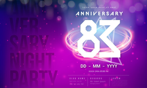 83 years anniversary logo template on purple Abstract futuristic space background. 83rd modern technology design celebrating numbers with Hi-tech network digital technology concept design elements.