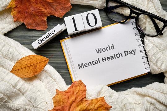 World Mental Health Day of autumn month calendar october